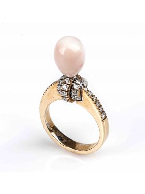 Gold, Pink Coral and Diamonds Ring