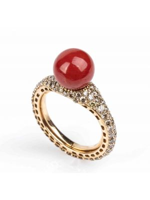 Gold, Mediterranean Coral and Brown Diamonds Ring