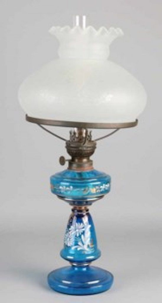Vintage Glass Table Lamp Black and